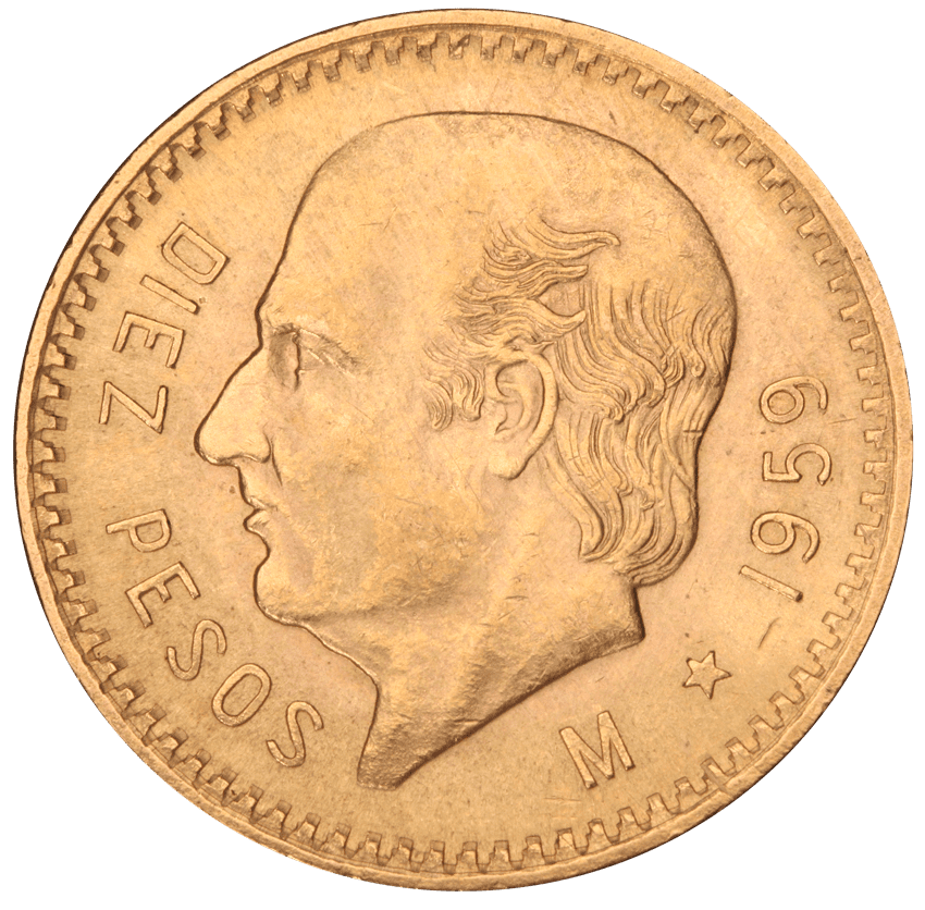 Mexican 2.5, 5, 10 Pesos Front