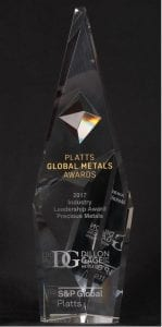 Platts Award for Industry Leadership in Precious Metals Awarded to Dillon Gage